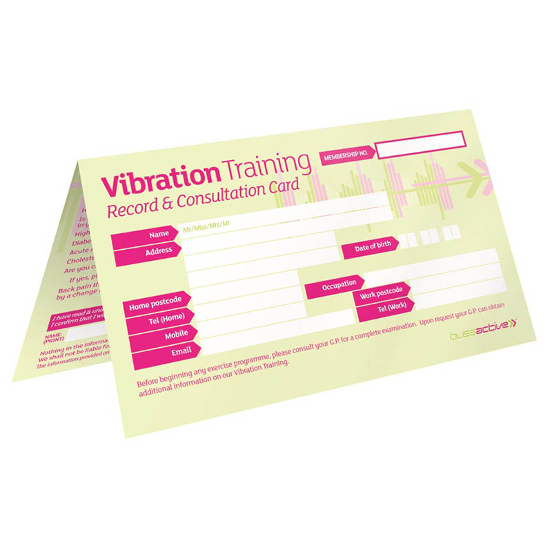 Vibration Training Record Consultation Cards Pack Of 50